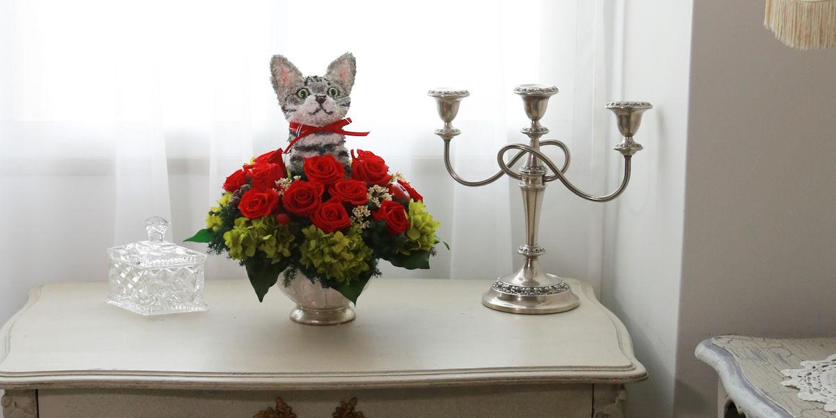 プリザーブドフラワー猫,アメリカンショートヘア,フラワーギフト販売
