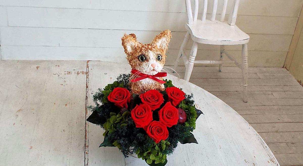 プリザーブドフラワー猫,茶トラ猫,猫フラワーギフト販売