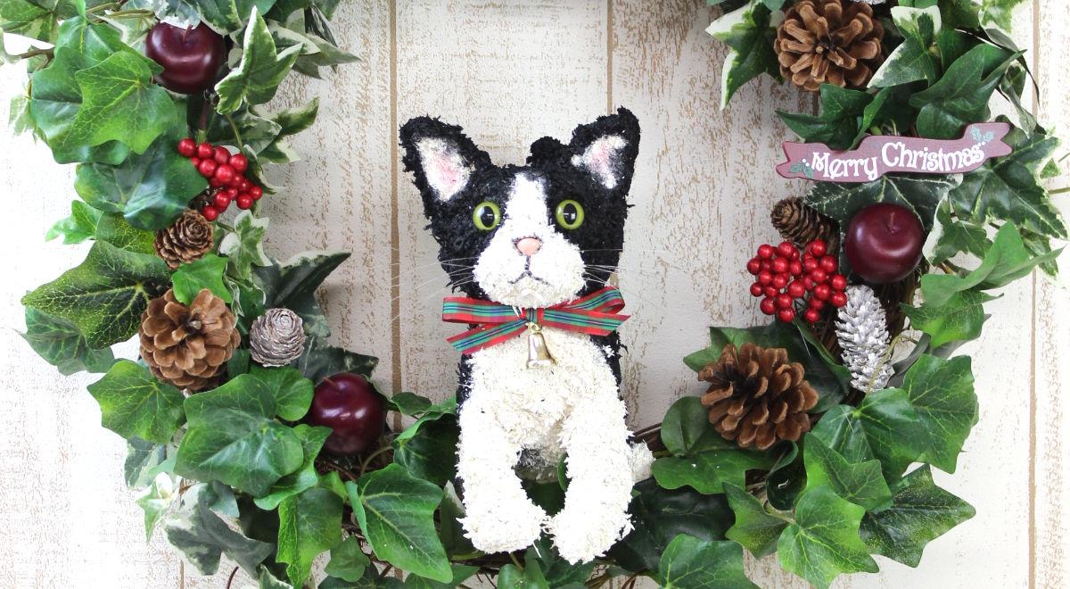 プリザーブドフラワー猫,ウェルカムドール猫,猫のお悔やみ花,動物病院開院祝い,猫フラワーギフト販売