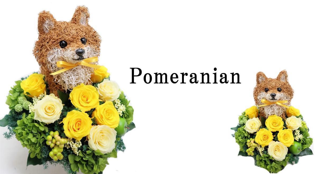 ポメラニアン ポメラニアンフラワーアレンジ 犬花