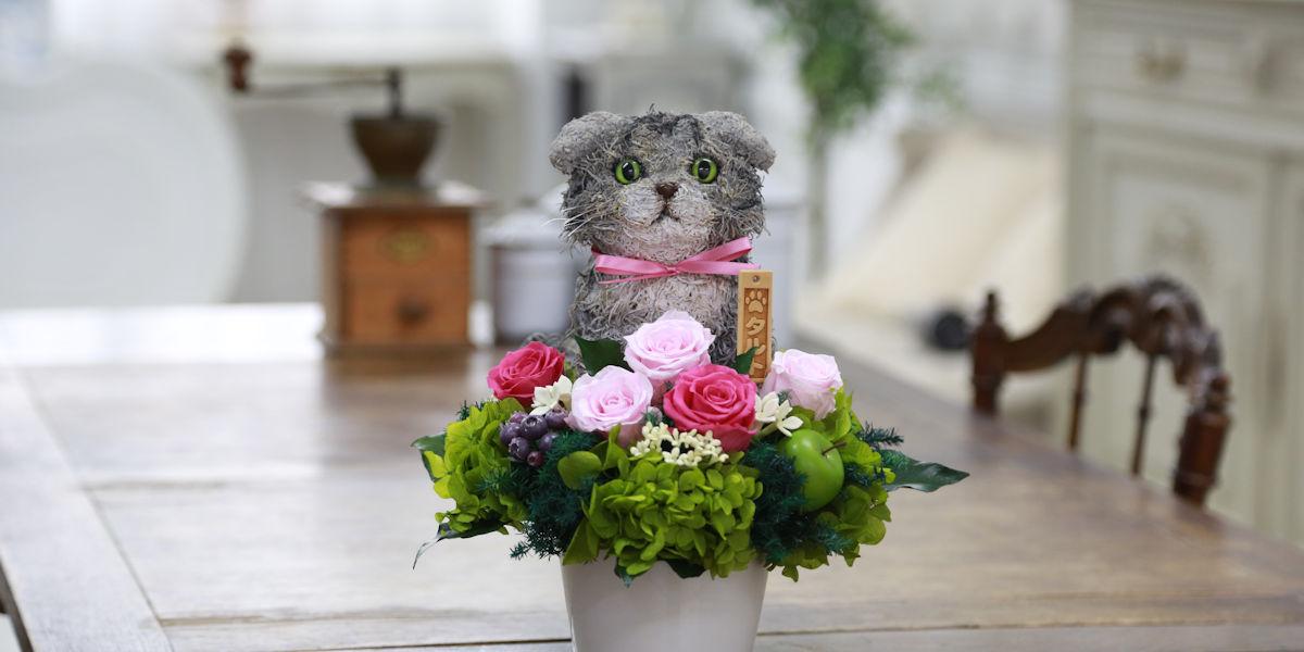 プリザーブドフラワー猫,スコティッシュフォールド,猫好きの人が喜ぶプレゼント,フラワーギフト販売