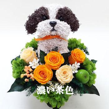 プリザーブドフラワー犬,シーズー濃い茶色
