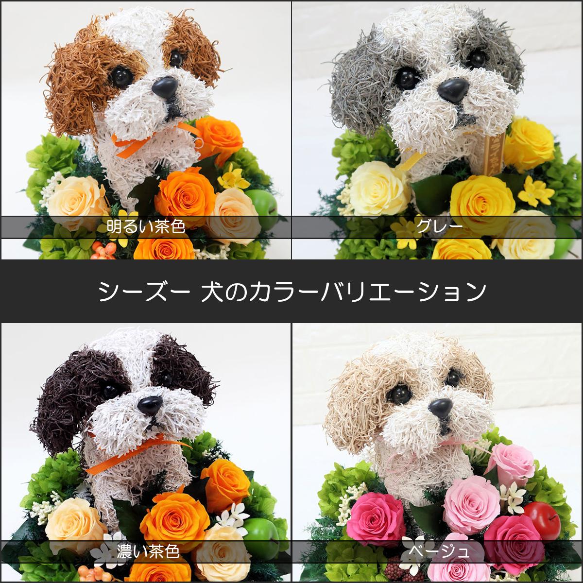 プリザーブドフラワー犬,シーズーカラーバリエーション