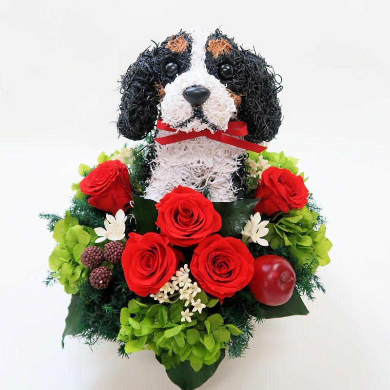 犬好きプレゼント キャバリア プリザーブドフラワー