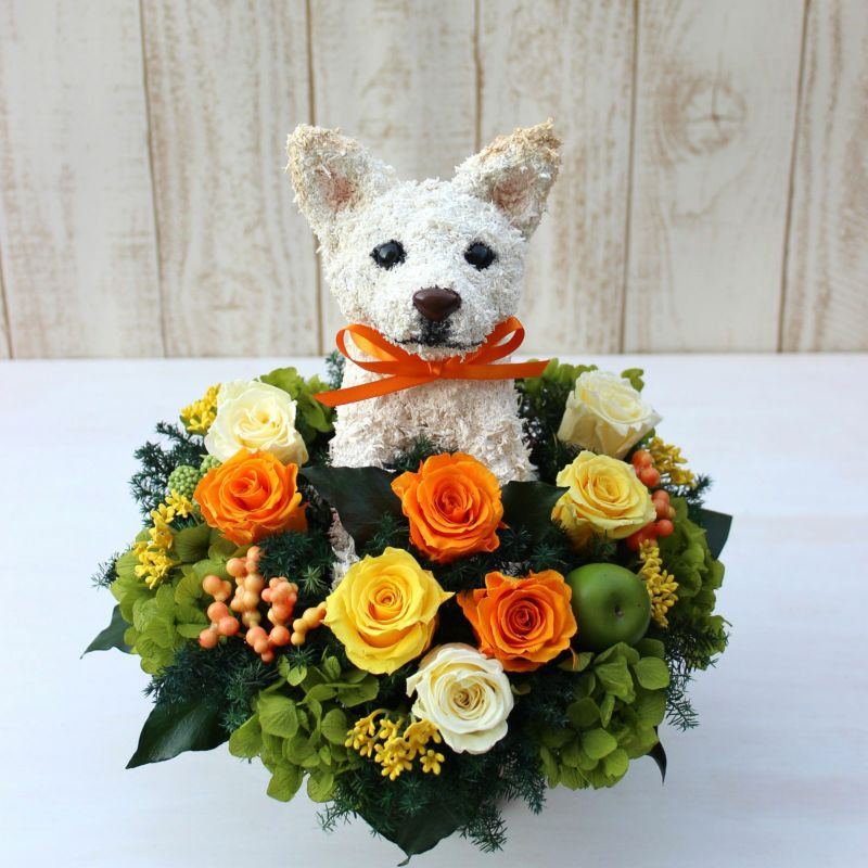 白柴犬 プリザーブドフラワーアレンジ