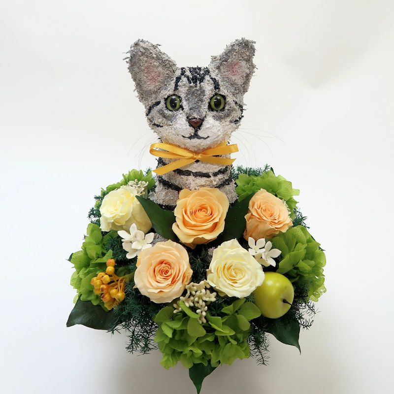 猫花 アメリカンショートヘア プリザーブドフラワーアレンジ