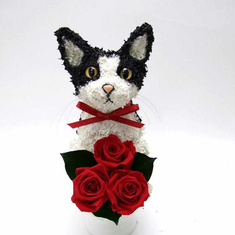 白黒猫 プリザーブドフラワーアレンジ