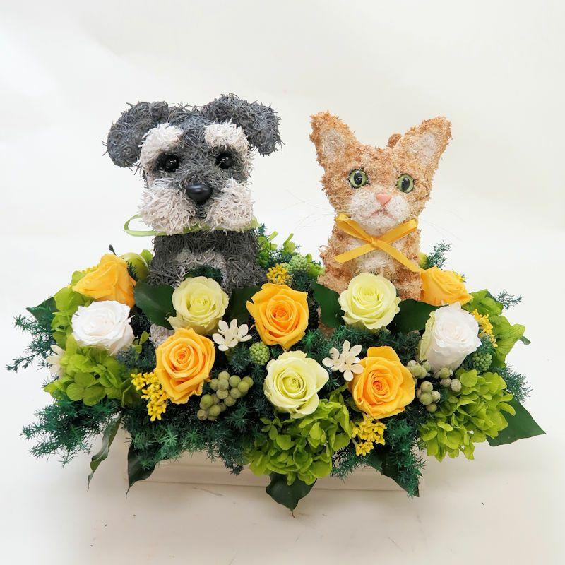 犬と猫の プリザーブドフラワーアレンジ シュナウザー 茶トラ猫