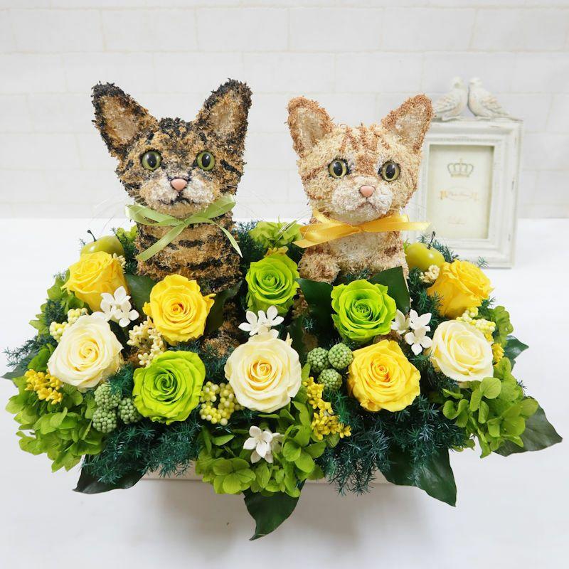 ウェルカムキャット 茶トラ猫とキジトラ猫